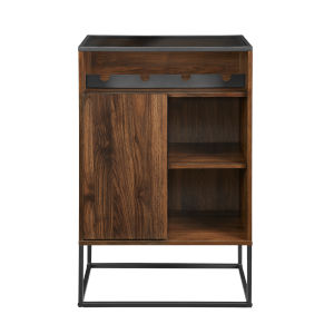 William Dark Walnut and Black Bar Cabinet with Glass Top