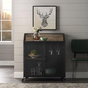 Rustic Oak Bar Cabinet