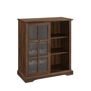 Lennon Dark Walnut and Black Sliding Glass Door Bar Cabinet