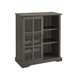 Lennon Slate Gray Sliding Glass Door Bar Cabinet