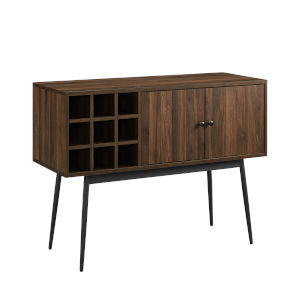 Archer Dark Walnut and Black Bar Cabinet with Bottle Storage