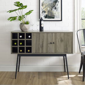 Archer Slate Gray and Black Bar Cabinet with Bottle Storage