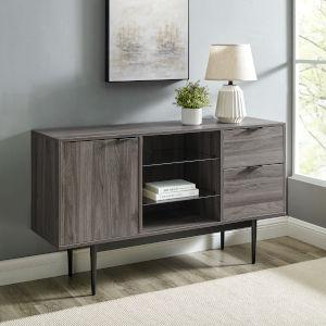 Astor Slate Grey Two-Tone Glass Shelf Sideboard