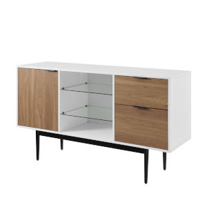 Astor Solid White and English Oak Lifted Sideboard with Two Drawer