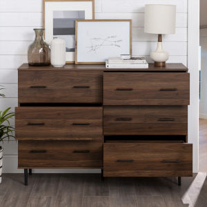 Modern Wood 6-Drawer Buffet - Dark Walnut
