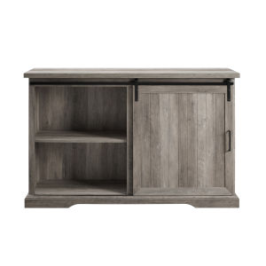 Gray Grooved Door 3 Drawer Sideboard