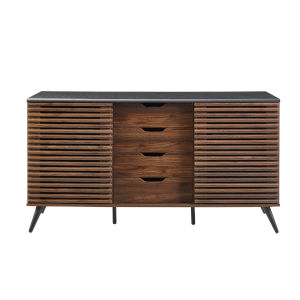 Havana Ebony and Dark Walnut Slat Door 4 Drawer Sideboard