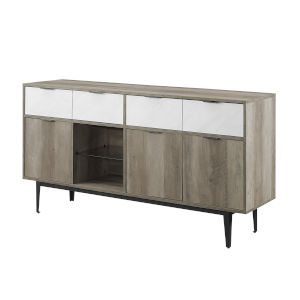 Baltic Faux White and Gray Sideboard with Two Drawer