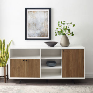 Rogan Solid White and English Oak Sideboard with Three Door