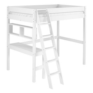 Swan White Twin Loft Bed with Desk