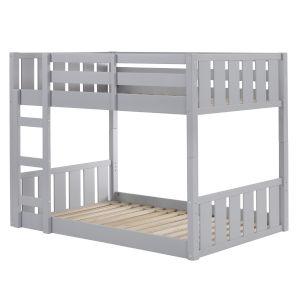 Solid Wood Slat Grey Twin Bunk Bed