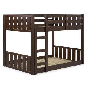 Solid Wood Slat Walnut Twin Bunk Bed