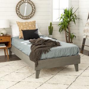 Gray Twin Platform Bed