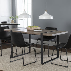 Driftwood and Black Dining Table Set , 5 Piece