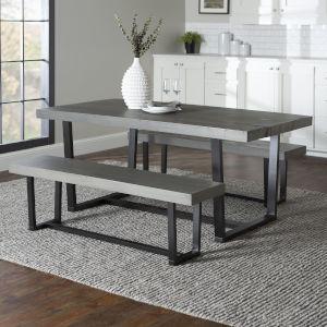 Grey and Black 3-Piece Farmhouse Dining Set