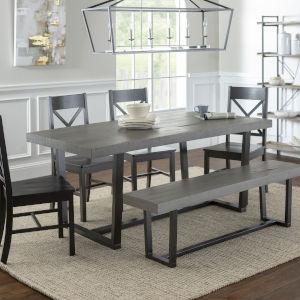 Grey and Black Dining Set, 6 Piece