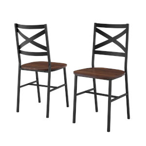 Angle Iron Dark Walnut and Black X Back Dining Chair, Set of 2