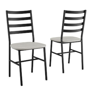 Stone Gray and Black Slat Back Dining Chair, Set of 2