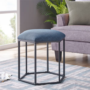 Blue and Black Upholstered Hexagon Ottoman