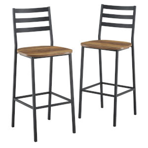 Barnwood and Black Slat Back Counter Stool, Set of 2
