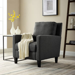 Charcoal Upholstered Lounge Chair