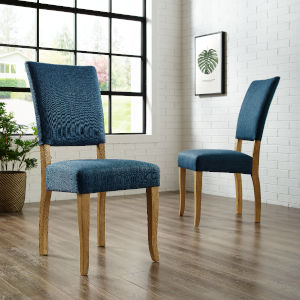 Blue Upholstered Parsons Dining Chair, Set of 2