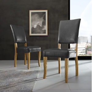 Charcoal Upholstered Parsons Dining Chair, Set of 2