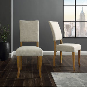 Ivory Upholstered Parsons Dining Chair, Set of 2