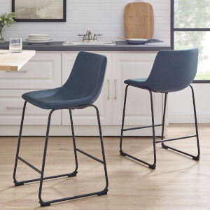 Navy Blue and Black Counter Stool, Set of 2