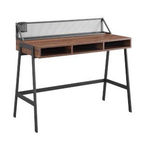 Black and Dark Walnut 42-Inch Writing Desk