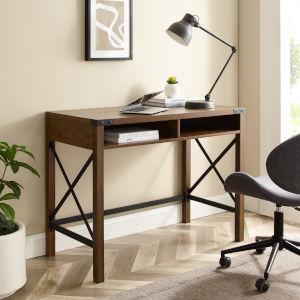 Metal X Dark Walnut Desk