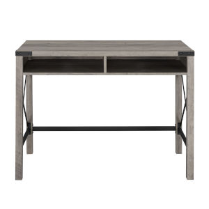 Gray and Black 42-Inch Metal and Wood Desk
