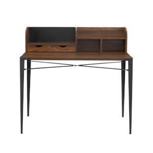 Dark Walnut 42-Inch Secretary Desk with Hutch