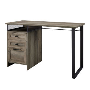 Anton Gray and Black Writing Desk with Three Drawer