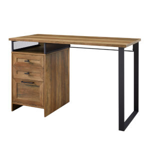 Anton Reclaimed Barnwood and Black Writing Desk with Three Drawer