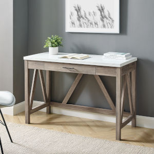 A-Frame Faux White Marble and Grey Wash 46-Inch Computer Desk with Drawer