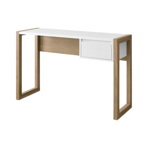Ashton English Oak and Solid White Fluted Drawer Writing Desk