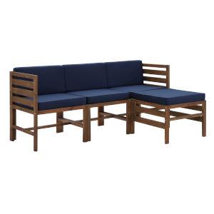 Sanibel Dark Brown and Navy Blue Furniture Set with Ottoman, Four Piece