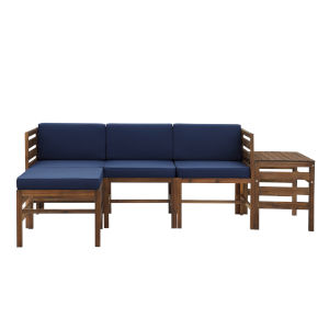 Sanibel Dark Brown and Navy Blue Furniture Set with Ottoman and Side Table, Five Piece