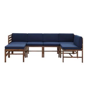 Sanibel Dark Brown and Navy Blue Furniture Set with Ottoman, Six Piece