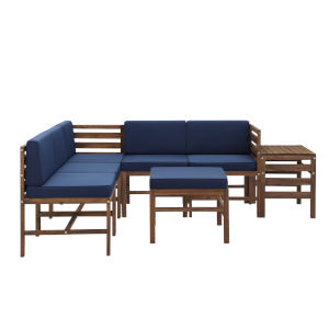 Sanibel Dark Brown and Navy Blue Furniture Set with Ottoman and Side Table, Seven Piece