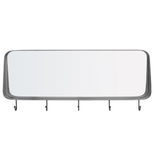 Black Rectangle Rounded Corner Mirror with Hooks