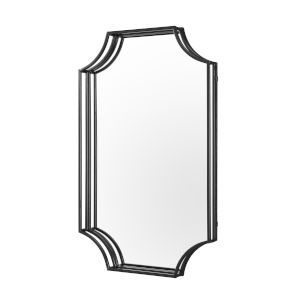 Black Rectangle Notched Corner Framed Mirror