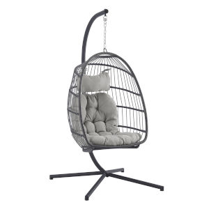 Gray Outdoor Swing Egg Chair with Stand