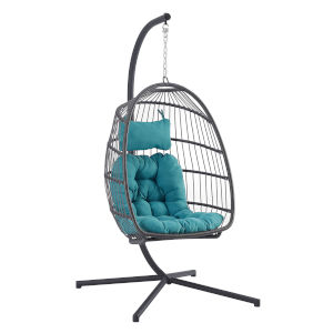 Gray and Teal Outdoor Swing Egg Chair with Stand