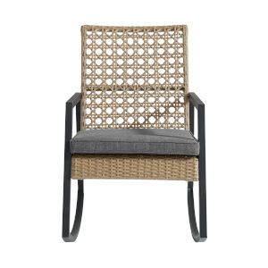 Brown and Gray 38-Inch Outdoor Rattan Rocking Chair