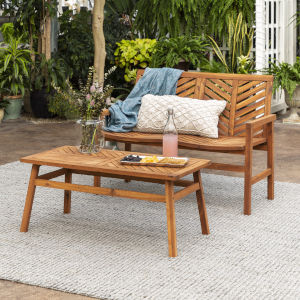 Brown  25-Inch Two-Piece Chevron Outdoor Chat Set