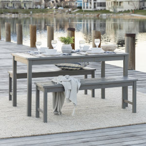 Gray Wash 32-Inch Three-Piece Simple Outdoor Dining  Set