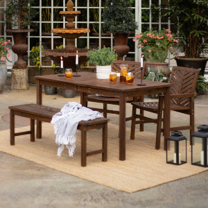 Dark Brown 32-Inch Four-Piece Chevron Outdoor Dining Set