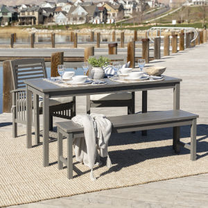 Gray Wash 32-Inch Four-Piece Simple Outdoor Dining Set